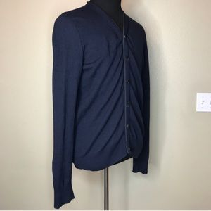 ALL SAINTS Blue Wool York Cardigan L
